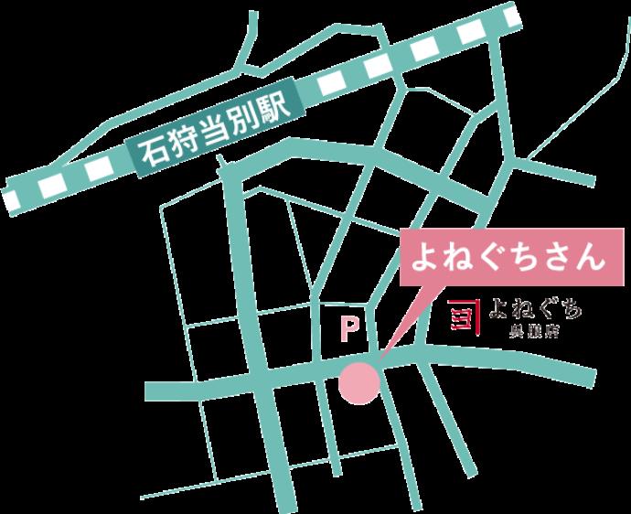 石狩当別駅からの地図